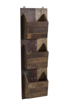 RS-40186 - Recycled Wood Triple Pocket Wall Organizer, 10x4x34 Inches