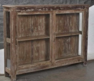 RS-43539 - Vintage 2 Door Wood Glass Cabinet, 48x10x37 inches