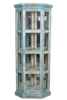 RS-40792 - Antique Wood Corner Cabinet, Lt. Blue - 29.2x21.7x70.9 inches