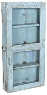 Old Original Piece Wooden Wall Cabinet 1 Door Light Blue 17.8x4.7x36.2