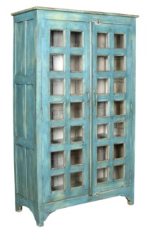 RS-43932 - Large Tall Cabinet Cottage Pane Design. 2 Dr. Wooden. Blue. Old Original  42.51x18.11x71.
