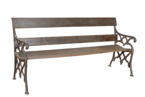 Bench Horizontal Design Back 4 Legs Wooden. Cast Iron. Original Old One-Off 73.22x24.01x34.64inch.