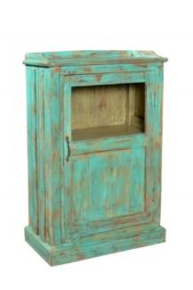 Side Cabinet w/ Door, Turq. - 25.6x13.4x39 inches