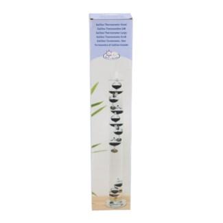 Galileo thermometer L. Glass, water, parafine oil, metal. 7,6x7,6x56,3cm. oq/6,mc/12