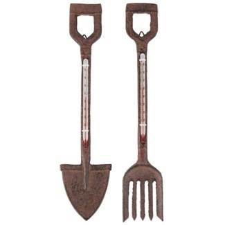 Thermometer fork/spade ass. Cast iron, glass, kerosine. 5,0x1,4x26,5/6,5x1,4x26,5cm. oq/12,mc/24