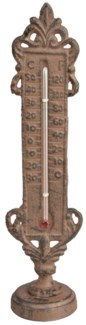 Standing thermometer. Cast iron, glass, kerosine. 5,9x5,2x22,4cm. oq/24,mc/24 Pg.95