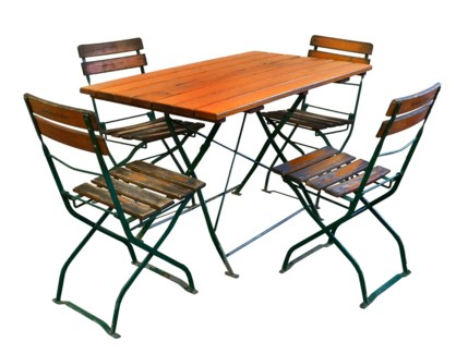 Antique French Large Bisro Set 1 table 4 chairs Beer Square: 47Lx28Wx29.5inch