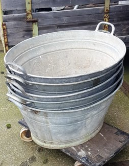Antique German Zinc Tub Tapered, From Germany 1880