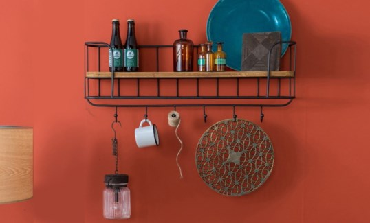 Industrial Kitchen Shelf w/hooks, 31x8x16 inches