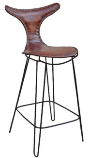 T Back Iron Bar Chair, Brn Leather, 19x19x43 inches