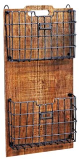 Wood Rack w/ Metal Basket 13x4x26