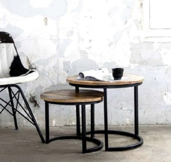 Nesting Side Tables, L: 20x20x19 inches S: 14x14x16.5 inches