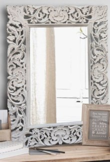 Carved Mirror, White, 30x1x42 inches