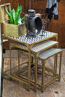 Yves Patterned Top Nesting Table, Set/3, Antique Gold Base, Small (16x14x17  ), Medium (18x16x20  )