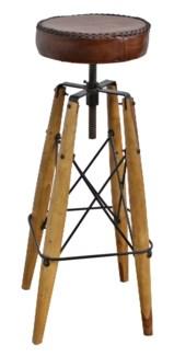 Raf Wooden Loft Adj. Height Stool, Leather Seat 15x15x34