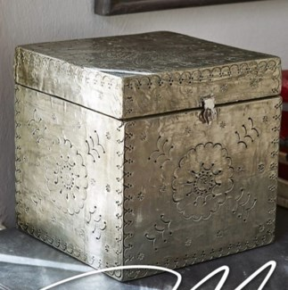 Decorative Wooden Box w/latch, 8x8x8 inches