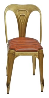 Gatsby Chair, Gold & Brown Leather 16x17x33