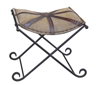 Old English Stool, Canvas/Leather, 20x19x18 inches