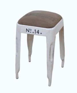 No. 14 Bar Stool, Crm/Canvas, 13x13x21 inches