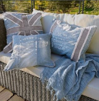 Cushion Set/3 Blue 19.50x19.50 15.74x15.74 19.68x15.74inch *Last Chance!*