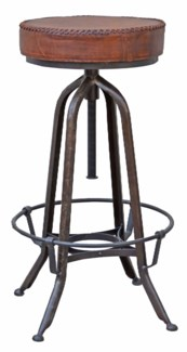 Adjustable Bar Stool, Leather Seat, 18x18x31 inches