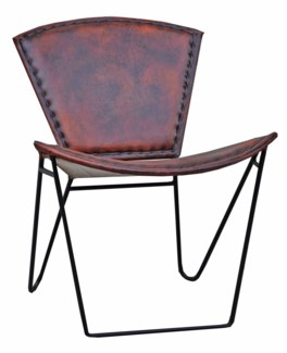 Leather Chair, Brown, 23x28x30 inches