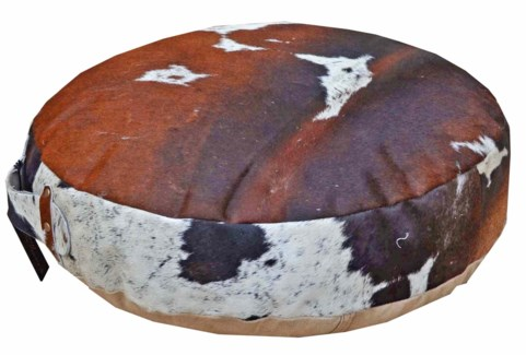 Cow Hide Pouffe, 20x4x20 inches
