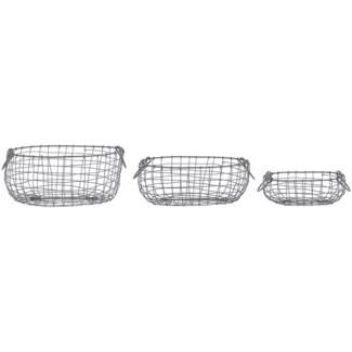 Wire basket oval set/3 S -  10.79x7.95x9.9