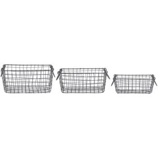 Wire basket rectangular set/3 S -  10.24x6.69x10.8