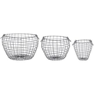 Wire basket pear shaped set/3 L -  9.02x9.02x23.7