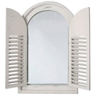 Antique white mirror with french doors. Wood, mirror. 37,0x4,8x59,0cm. oq/6,mc/6 Pg.59