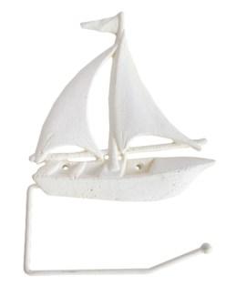 Sailboat Toilet Paper Holder, antique white finish 10.6x7.5x1.2 inches