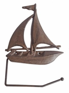 Sailboat Toilet Paper Holder, antique rust finish 10.6x7.5x1.2 inches