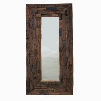 rustic frame mirror, antique brown, tile design 23.5x48inch