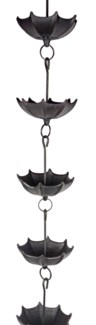 Umbrella Cast Iron Rain Chain, 8 ft long