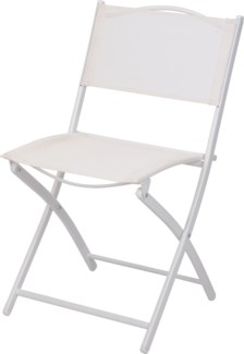 Foldable Bistro Metal Chair White. 18x15 x32inch. FA6215470 ON SALE 50 PERCENT OFF