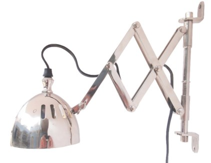 Extendable Wall Lamp Narrow Brim, 11x14.2inch. Brass w.Antique Silver Finish