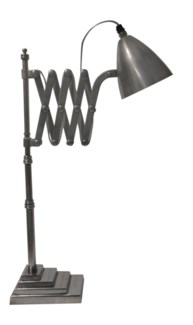 Sidney Desk Lamp. Antique Silver Finish. Solid Brass 23.62x6.30x25.6inch