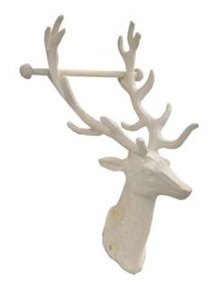Reindeer Toilet Roll Holder, antique white finish 6.1x5.8x12inch