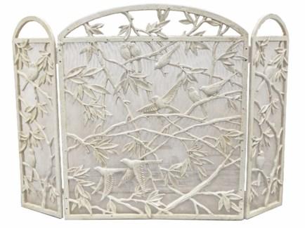 bird fireplace screen, antique white 39.5 x 27.6x0.6inch
