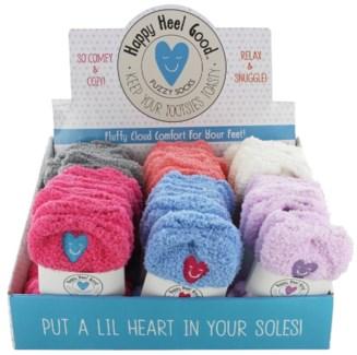 Happy Heel Fuzzy Sock 24DP