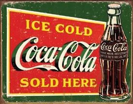 Coke Ice Cold Green Metal Sign