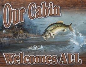 Our Cabin Welcomes All Metal Sign