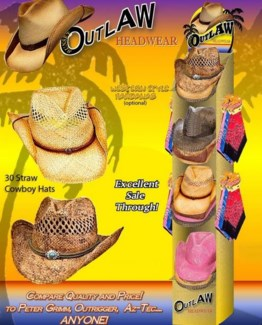 Outlaw Cowboy Hat 30 Dsp.