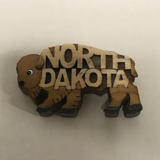 ND Bison Wood Magnet
