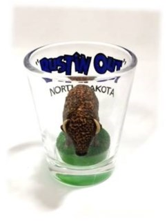 ND Buffalo Bustin Out Shot Glass