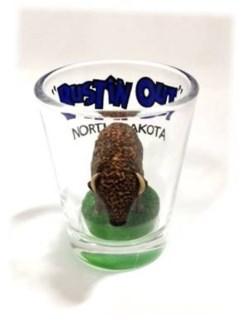 ND Buffalo Bustin Out Shot Glass