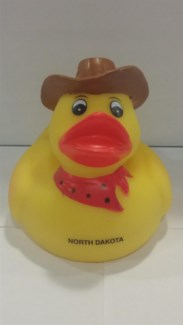 Large North Dakota Rubber Duck Cowboy