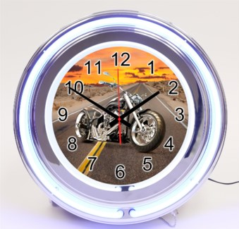 Neon Clock-Motorcycle