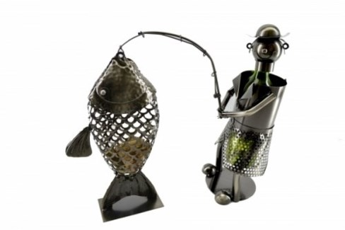 Fisherman Bottle Holder with Fish Cork Holder